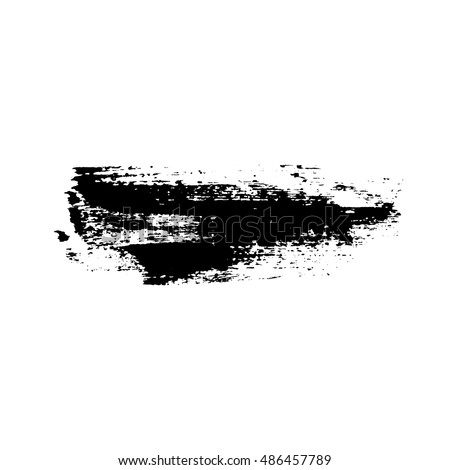 Grunge brush stroke texture, isolated black on white. Paintbrush artistic shape element. Ink line. Watercolor art template. Paint design. Smear creative pattern. Vector illustration