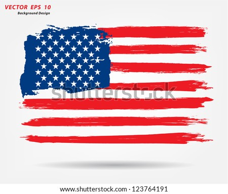 Grunge brush stroke watercolor of American flag, Vector illustration - stock vector