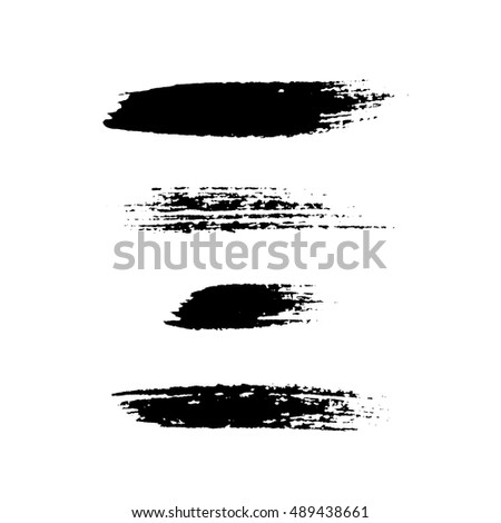 Grunge brushes stroke texture set, isolated black on white. Paintbrush artistic shape elements. Ink line. Watercolor art template. Paint design. Smear creative pattern. Vector illustration