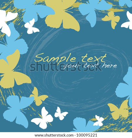 Grunge butterflies on blue background - stock vector