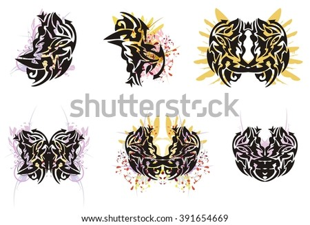 Grunge butterfly wings and grunge tribal elements. Wing of a butterfly with violet floral splashes and tribal butterfly wings splashes - stock vector