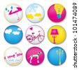 Grunge button badges - stock vector