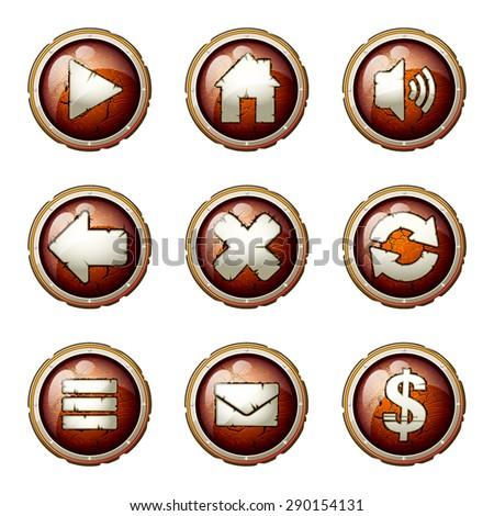 Grunge buttons set - stock vector