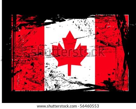 Grunge Canada flag - stock vector