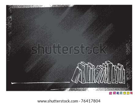 Grunge canvas background, book motive (simple linear drawing, vector) - stock vector