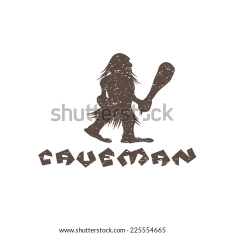 grunge caveman with a cudgel in his hands - stock vector