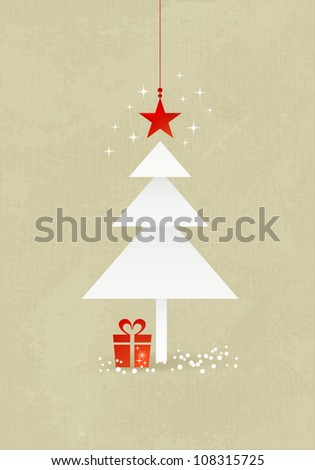 Grunge Christmas background with minimalistic Christmas tree made from 3 paper triangles. A red star at the top and present at the bottom of the tree. - stock vector