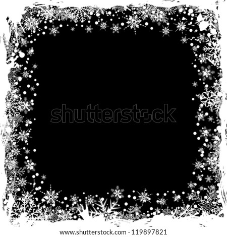 Grunge Christmas Frame with Snowflakes, isolated on black, vector illustration - stock vector