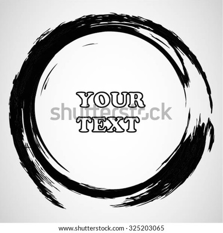 Grunge circle border. Black ink brush stroke. Sketch handmade drawing on white background. Stamp draft mockups of grunge overlay texture. For your design and business. - stock vector