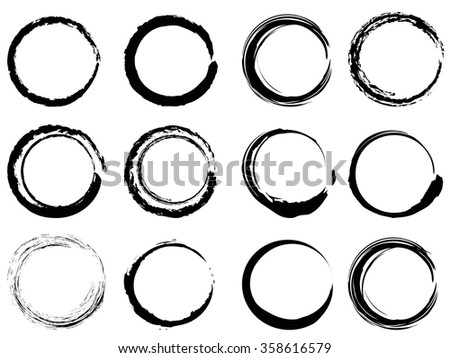 grunge circle brush strokes set - stock vector