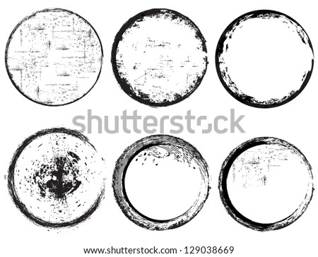 Grunge circle frames - stock vector