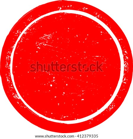 Grunge Circle Shape. Distressed Texture Rounded Shape. Red Rubber Stamp In Circle Form. Vector. Sticker Icon. - stock vector