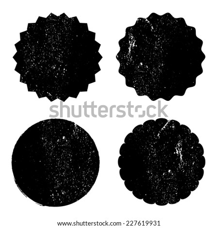 Grunge circle stamp background textures set, Vector background EPS 10 - stock vector