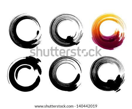 Grunge circles for coffee or black paint. - stock vector