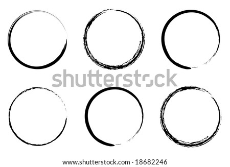 grunge circles for coffee or black paint - stock vector