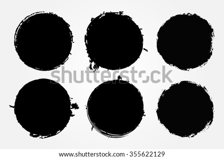 Grunge circles.Grunge round shapes. Vector illustration. - stock vector