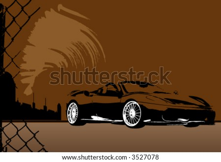 grunge city and sport car vector - stock vector