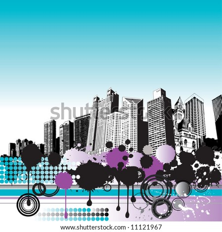 Grunge city background - stock vector