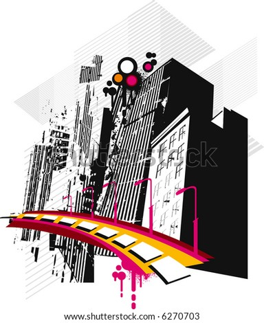 grunge city composition - stock vector