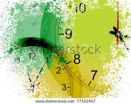 grunge clock vector background