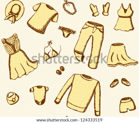 Grunge clothes seamless pattern - stock vector