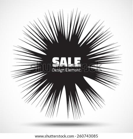 Grunge Cloud Explosion, blast or bomb bang, vector illustration - stock vector