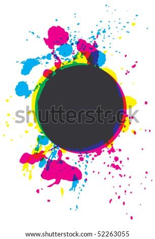 Grunge CMYK paint splatter circle - stock vector