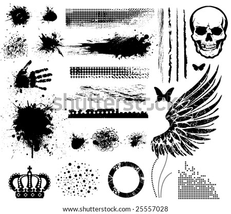Grunge collection line brushes blots points crown wings hand butterflies skull circle brushes. - stock vector