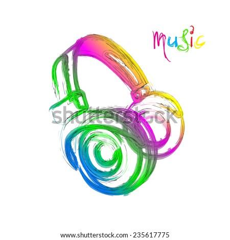 Grunge color light Headphones, easy all editable - stock vector
