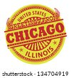 Grunge color stamp with text Greetings from Chicago, vector illustration - stock vector