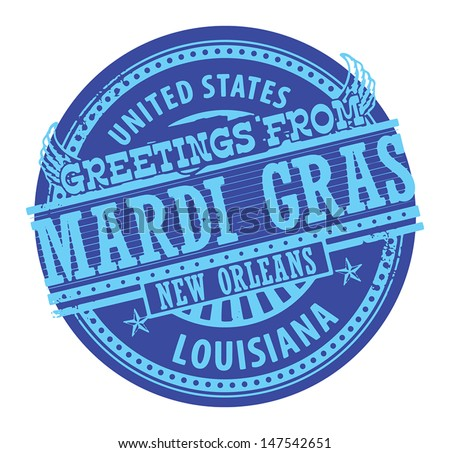Grunge color stamp with text Greetings from Mardi Gras vector illustration