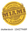 Grunge color stamp with text Greetings from Miami, vector illustration - stock vector