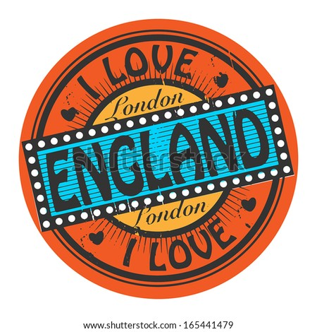 Grunge color stamp with text I Love England inside, vector illustration - stock vector