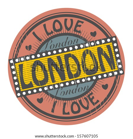 Grunge color stamp with text I Love London inside, vector illustration - stock vector