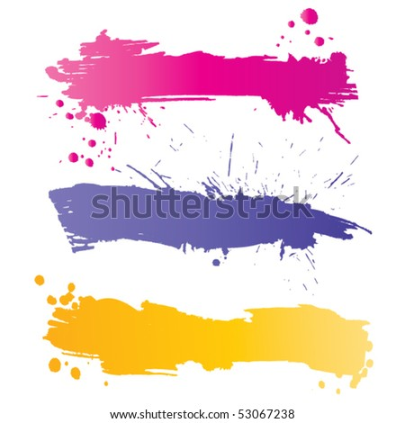 Grunge colorful banners with inky splashes - stock vector