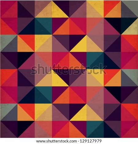 Grunge Colorful Seamless Pattern with Triangles - stock vector