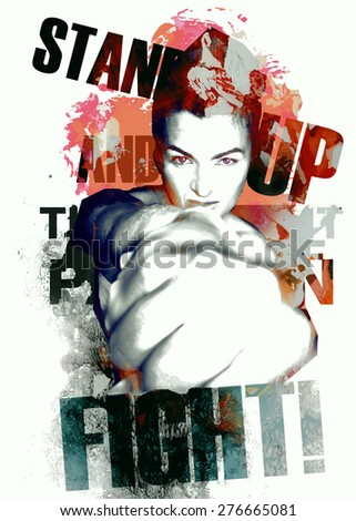 Grunge composition with a fighting lady - stock vector