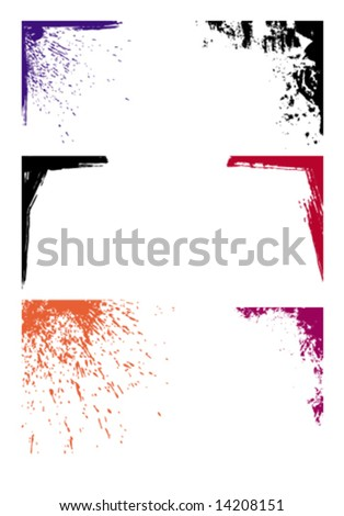 grunge corners - stock vector