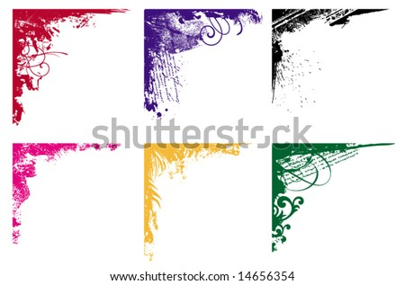 grunge corners collection - stock vector