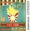 Grunge Cover for Fast Food Menu - French fries on vintage background with place  for price - vector illustration - stock vector
