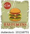 Grunge Cover for Fast Food Menu - hamburger on vintage background - stock vector