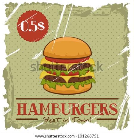 Grunge Cover for Fast Food Menu - hamburger on vintage background - stock vector