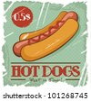 Grunge Cover for Fast Food Menu - hot dog on vintage background - stock vector