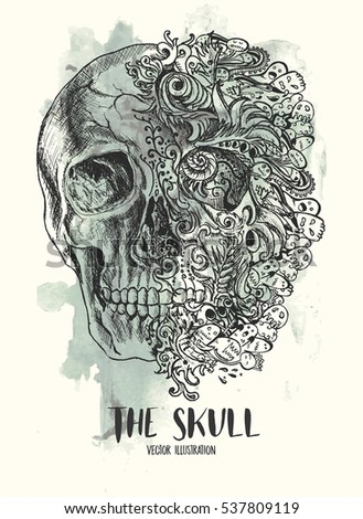 Grunge creative image with skull and vintage floral patterns. editable Vector illustration.