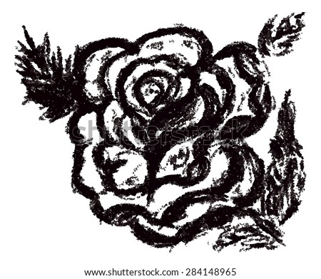 Grunge decorative sketch of a rose with leaves.