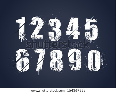 Grunge dirty painted numbers set. Vector illustration. - stock vector