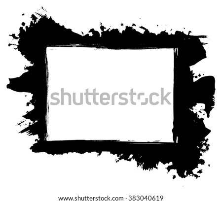 Grunge distressed paintbrush strokes background rectangle frame element illustration - stock vector