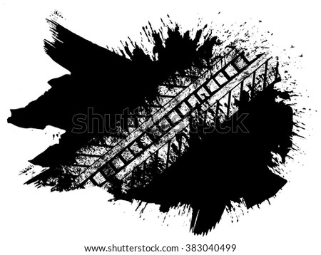 Grunge distressed paintbrush strokes background with tire track overlay illustration - stock vector