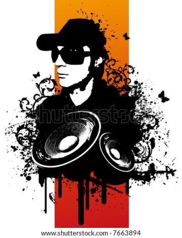 Grunge DJ - stock vector