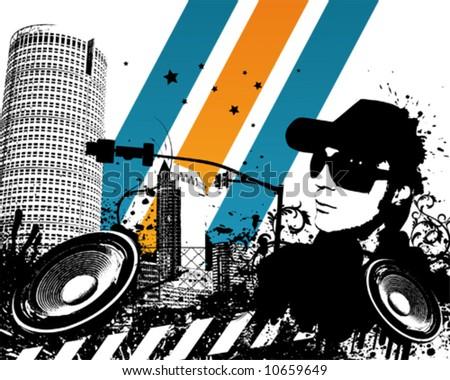 Grunge DJ City Vector Illustration - stock vector